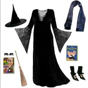 3X 4X Plus Witch Velvet Lace Spooky Costume Dress